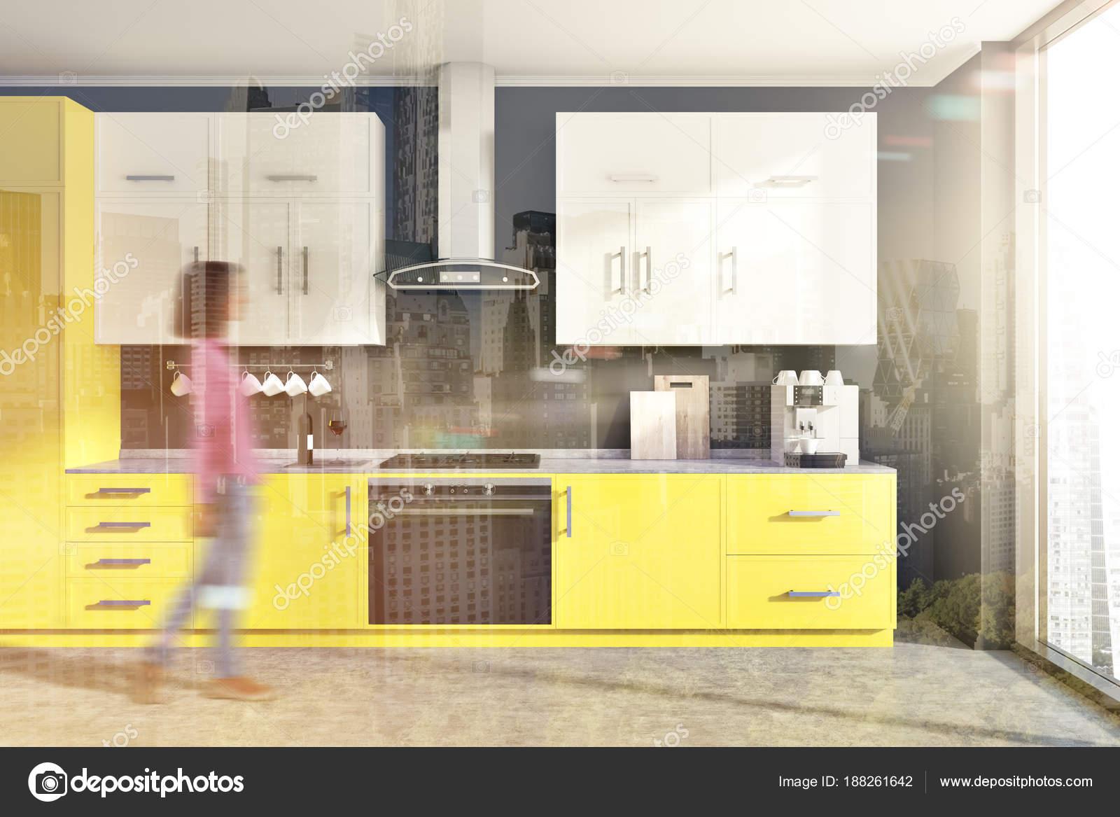 Banconi da cucina grigio, giallo tonica — Foto Stock ...