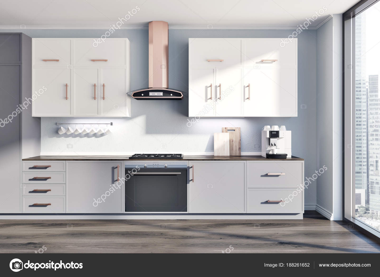 Banconi da cucina grigio interni, bianco e grigio — Foto Stock ...