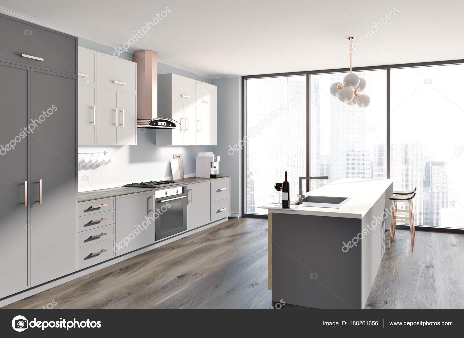 Graue Küche innen weiß und grau Zähler Seite — Stockfoto ...