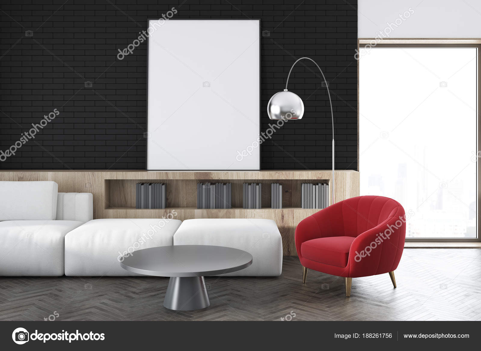 Zwarte muur woonkamer, witte Bank, poster close-up — Stockfoto ...