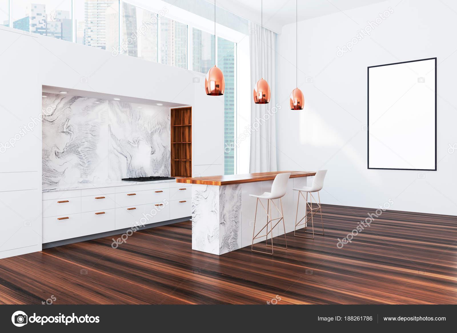 Panorama-Küche, weiße Möbel, poster — Stockfoto © denisismagilov ...