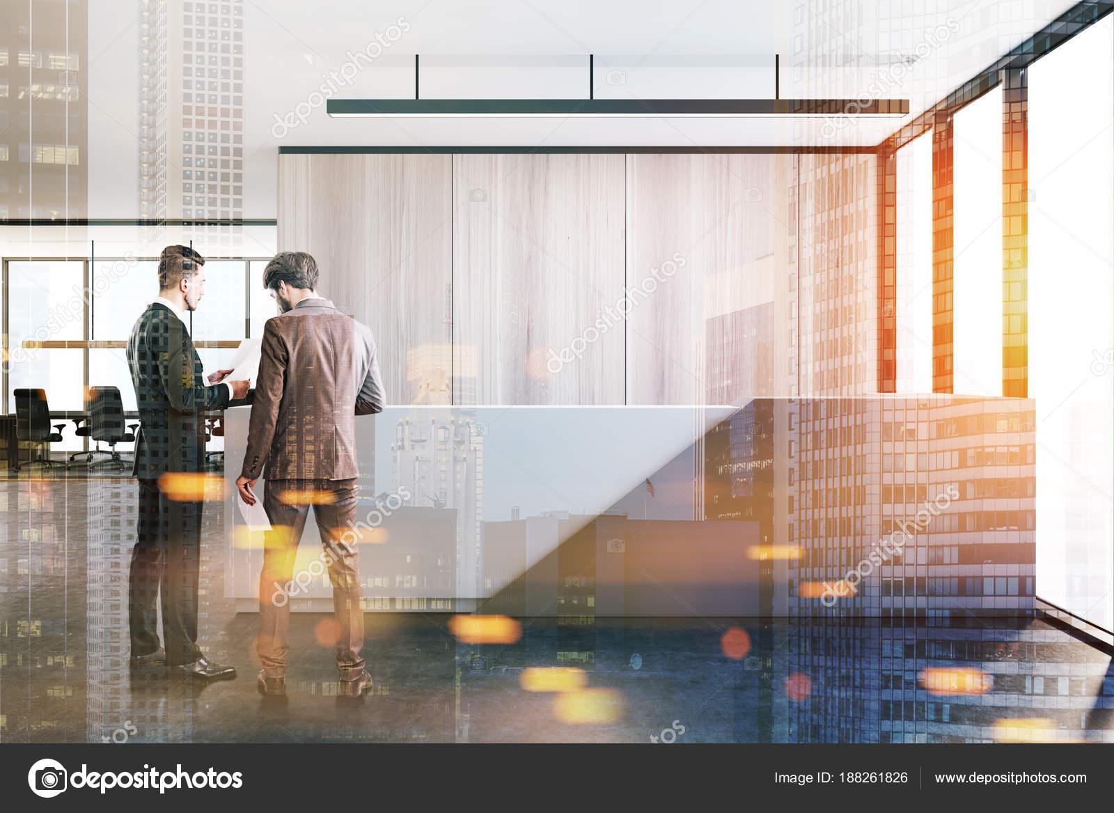 Ufficio Bianco E Legno : Parete di legno ufficio bianco grigio ricevimento tonica u foto