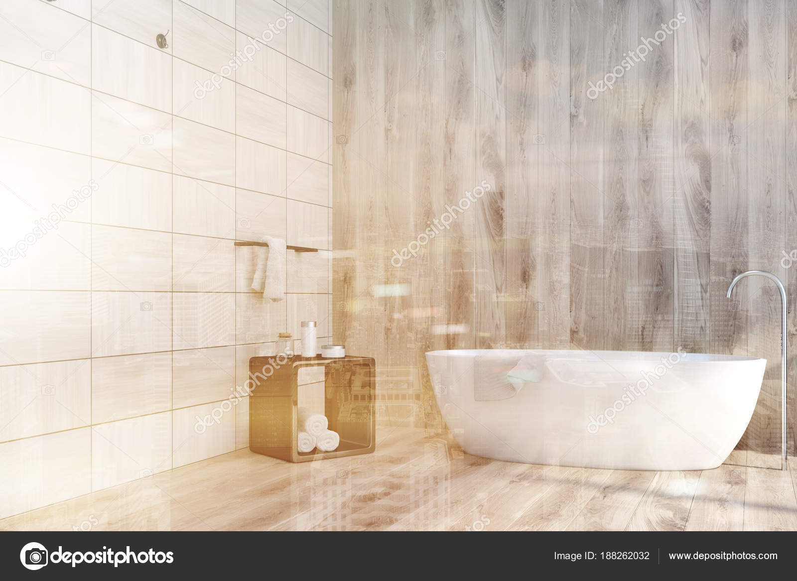 Houten tegels badkamer hoek bad toned u stockfoto