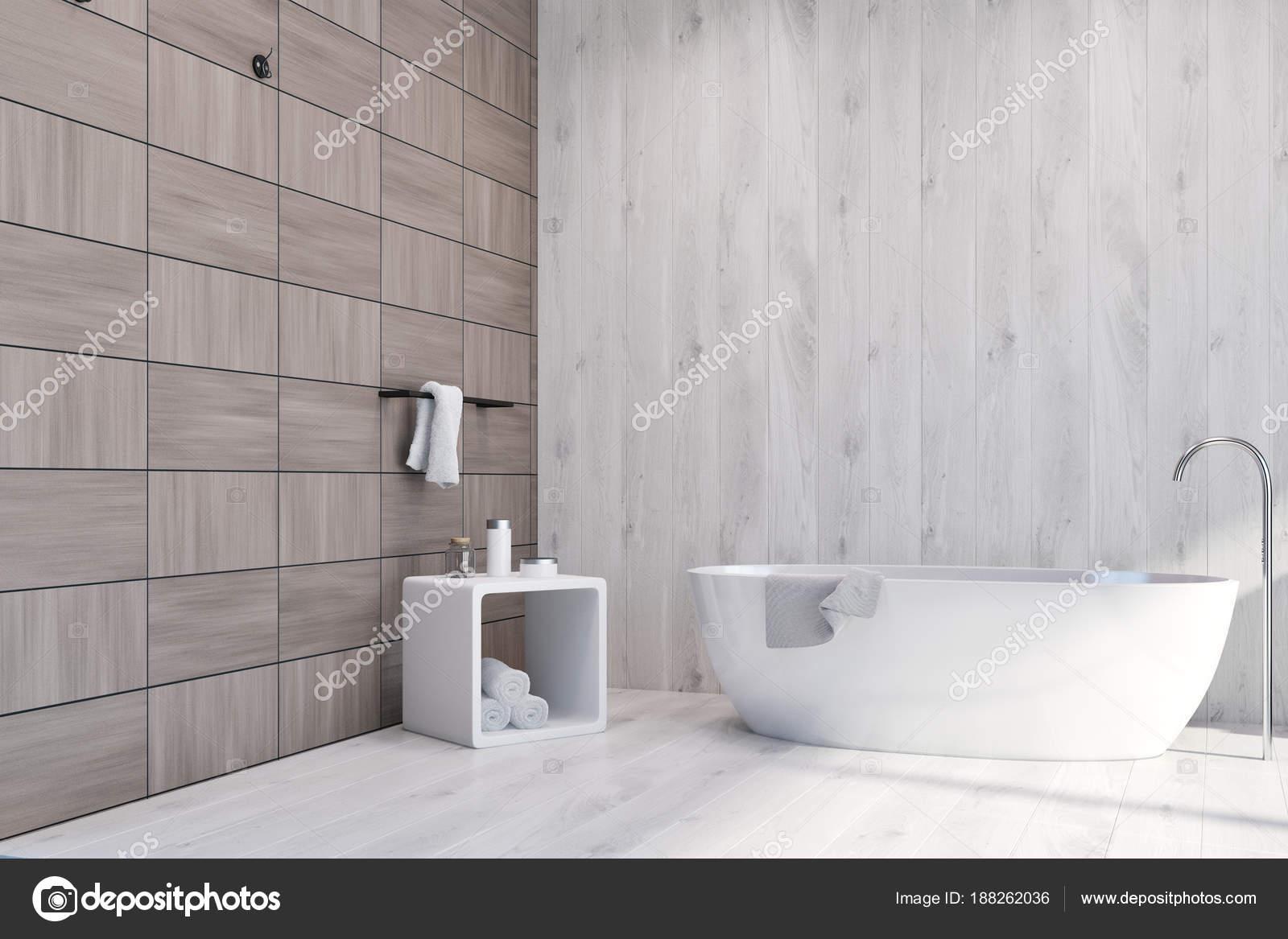 Braun Weiß Und Holz Fliesen Bad U2014 Stockfoto