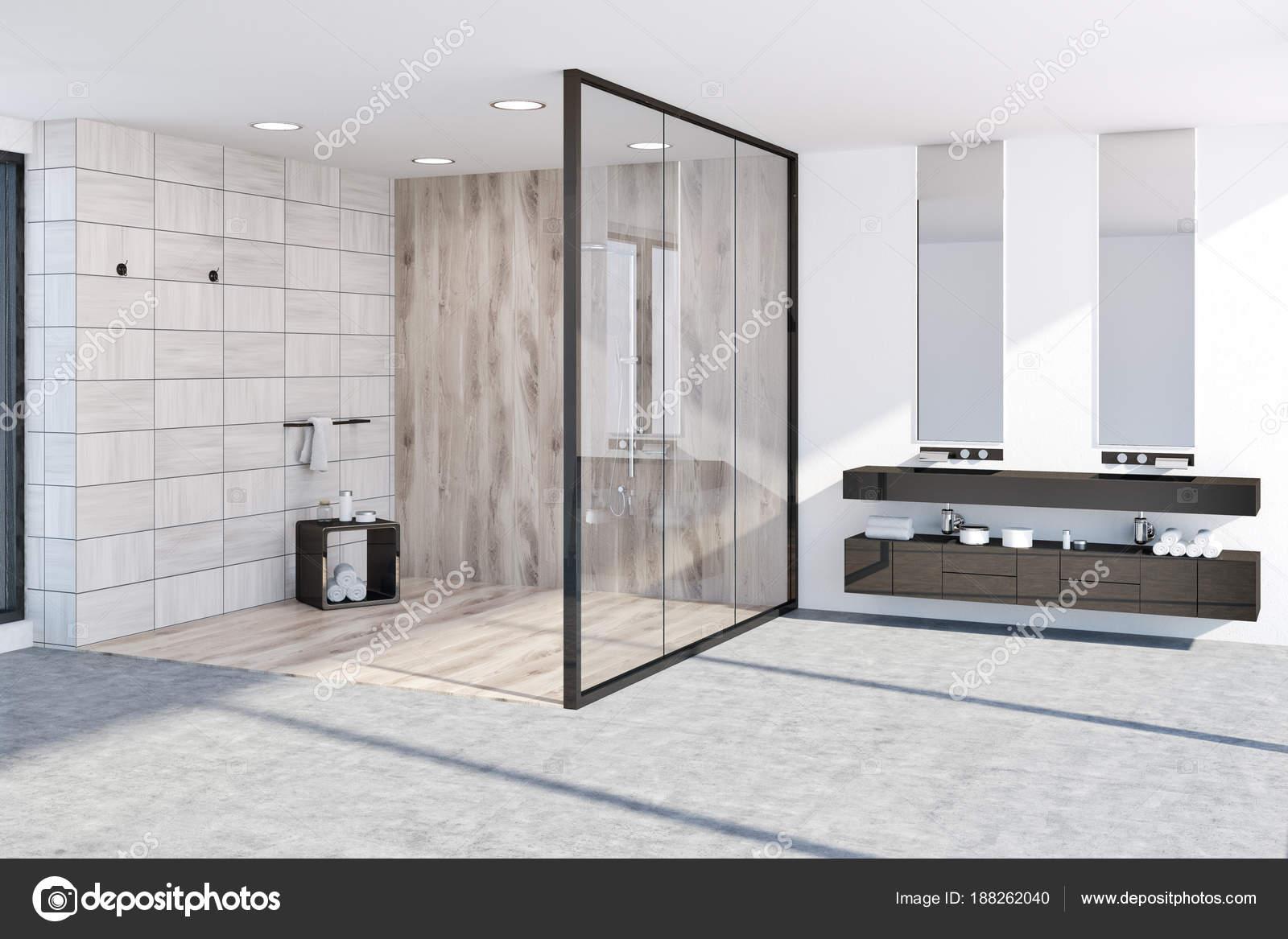 Houten tegels badkamer hoek u stockfoto denisismagilov