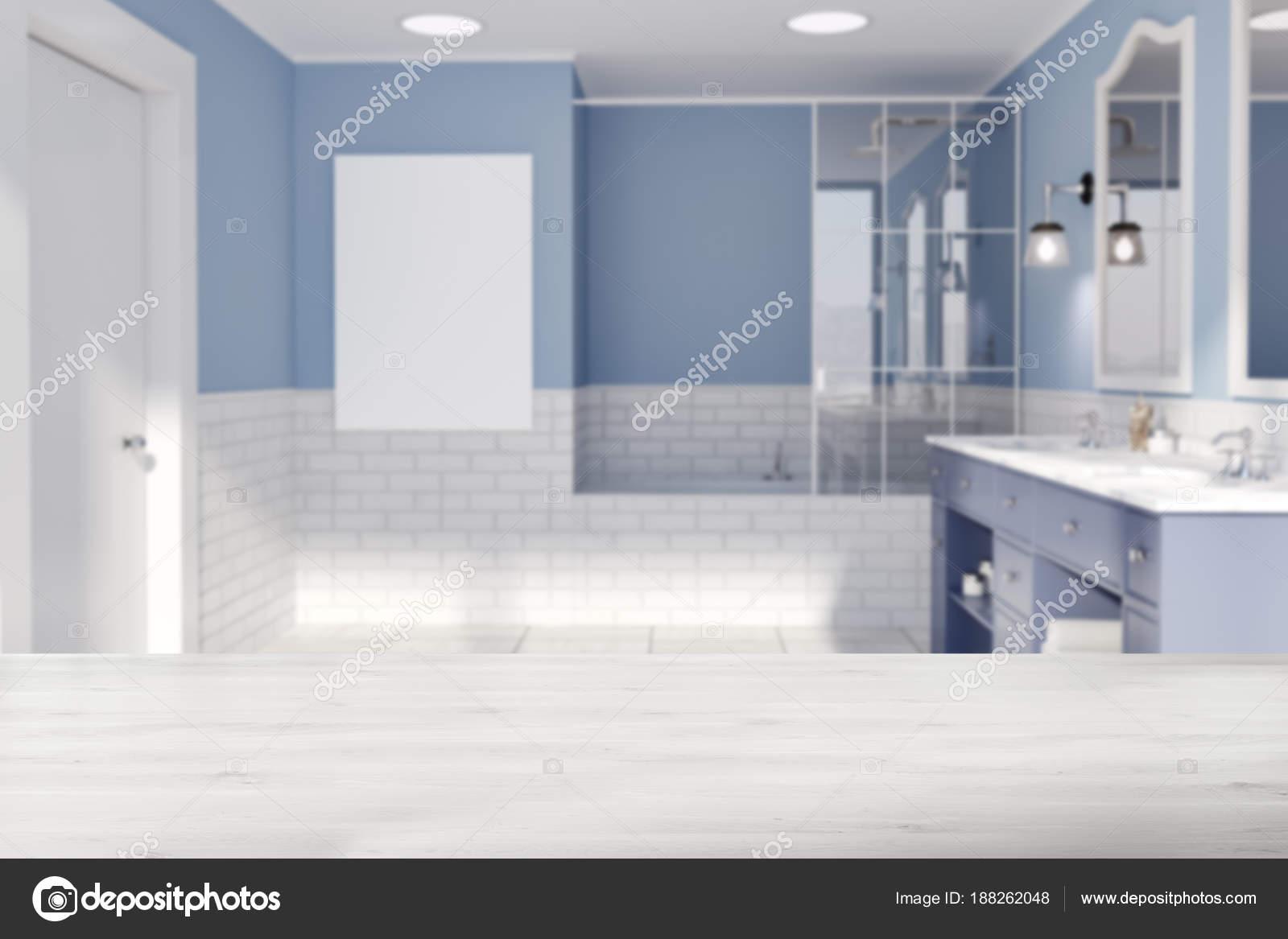 Salle De Bain Ambiance Africaine ~ Bleu Et Brique Mur Salle De Bain Affiche Flou Photographie