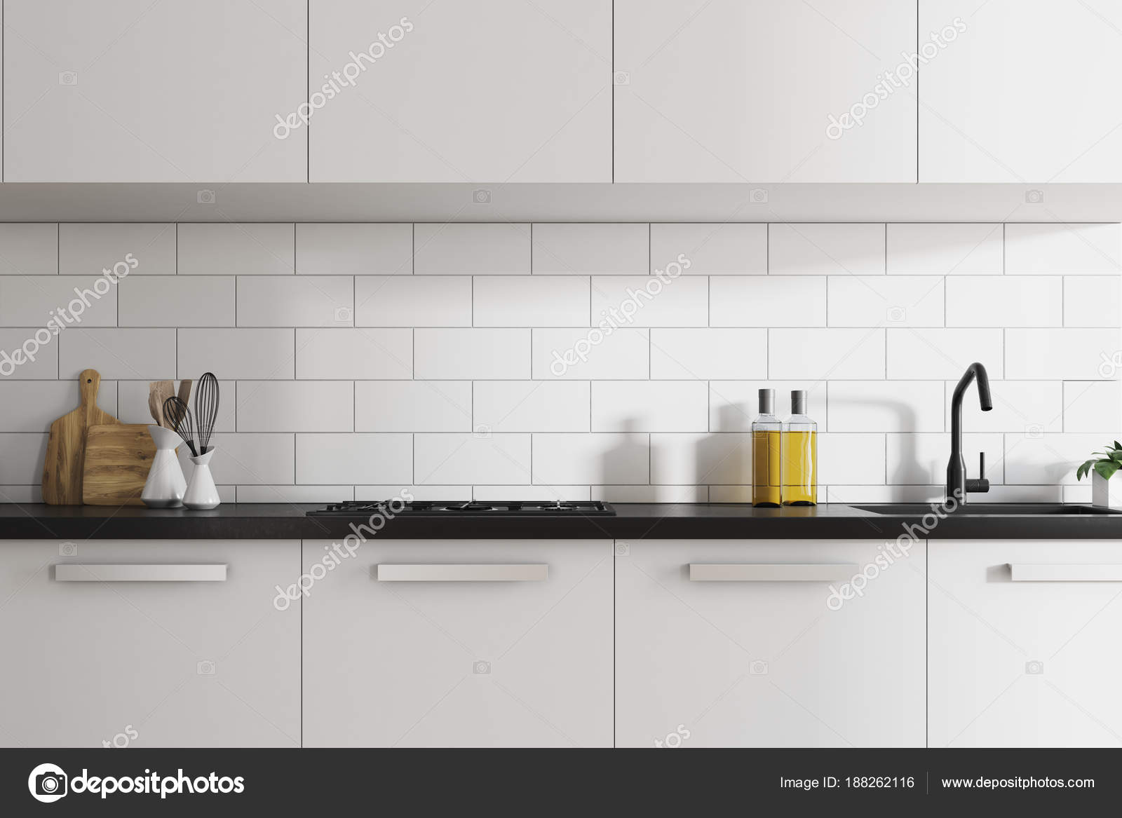 Comptoirs de cuisine en brique blanche intérieur, blanc ...