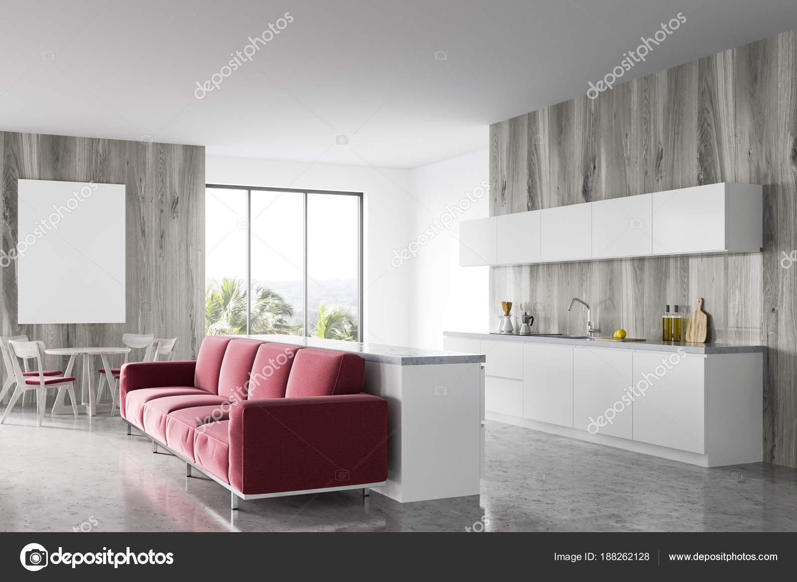 Wooden Esszimmer Rotes Sofa Plakat Stockfoto C Denisismagilov