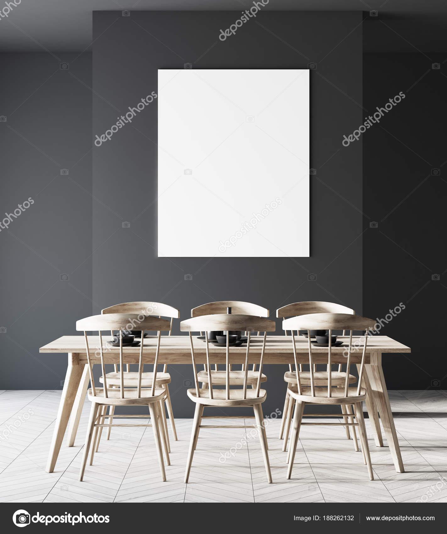 Nero Camera Da Pranzo Sedie In Legno Poster Foto Stock