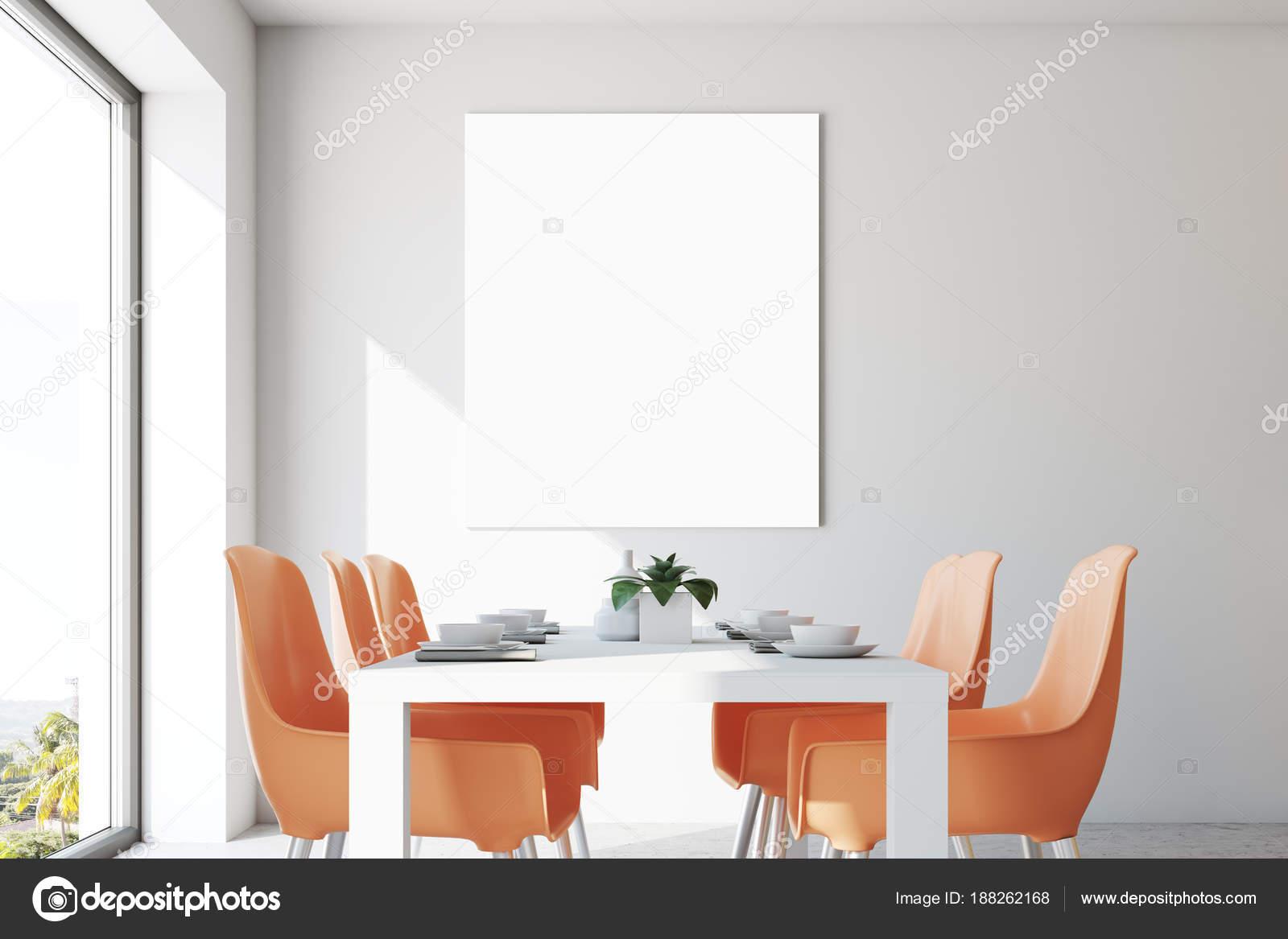 Eetkamer Van Oranje : Witte eetkamer oranje stoelen poster close up u stockfoto