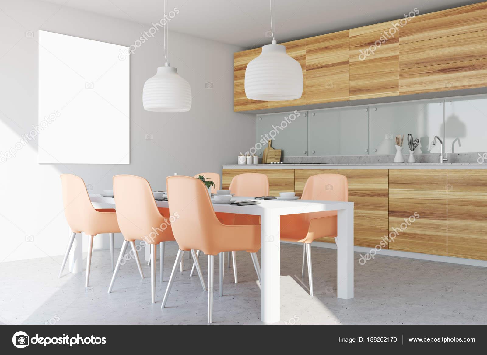 Weiß und Holz Esszimmer und Küche, Plakat — Stockfoto ...