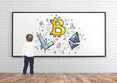 Fotografie Niedliche kleine Junge Zeichnung Marker Krypto Währung