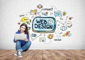 Dospívající dívka s notebookem, webdesign