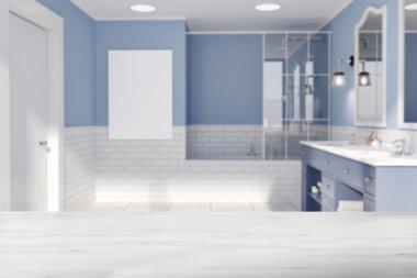 Blue and brick wall bathroom, poster blur