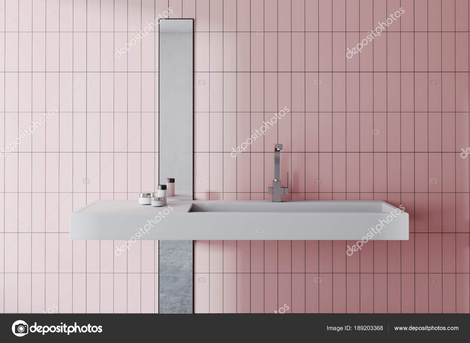 Affondare in un interno di bagno rosa u foto stock