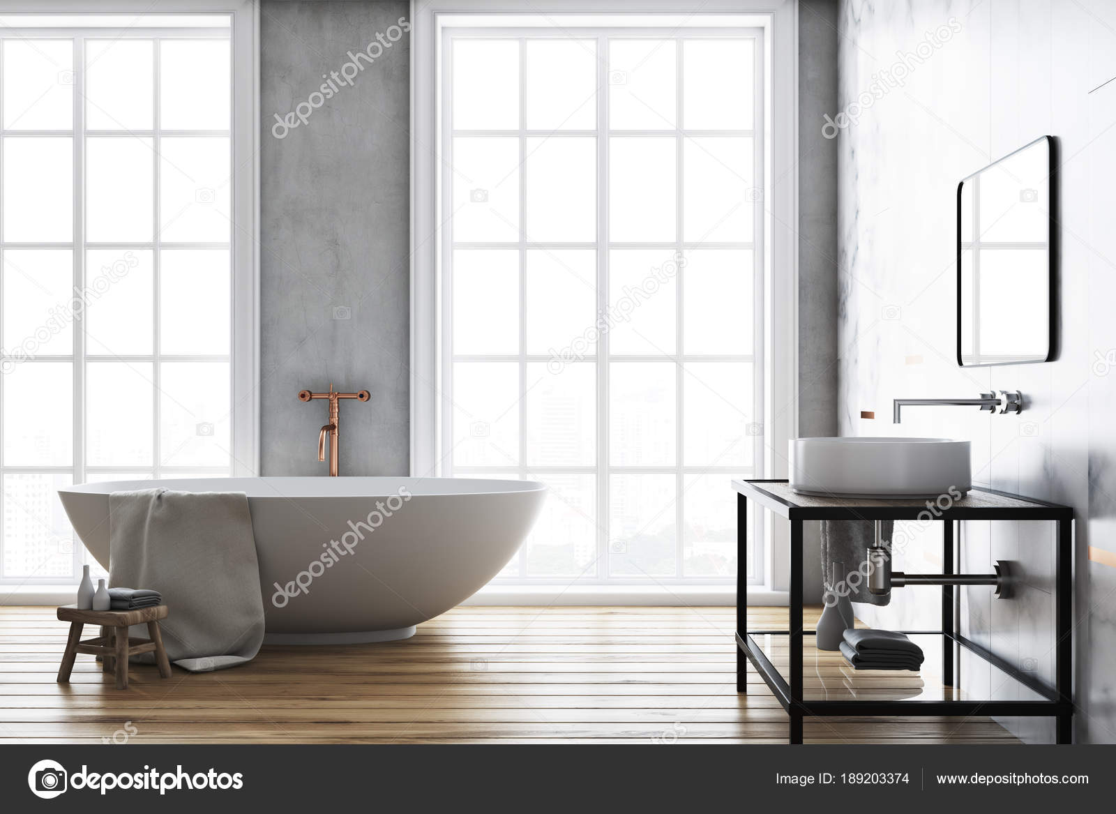 Luxe beton badkamer interieur — Stockfoto © denisismagilov #189203374
