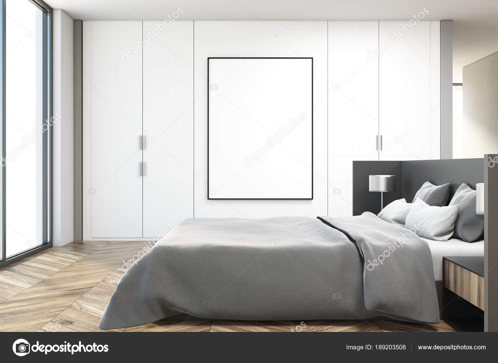 Camera da letto bianca interni, lato vedi manifesto — Foto Stock ...