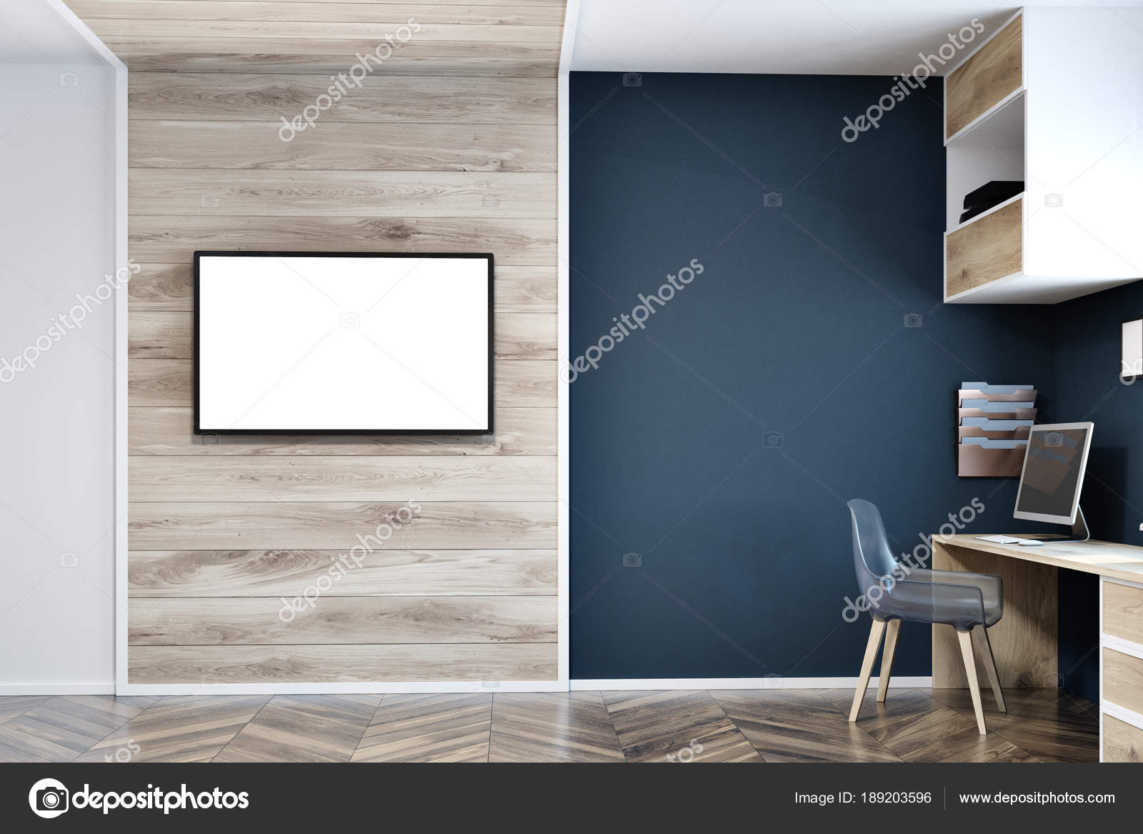 Blue home office wall Color Dark Blue Wall Home Office Tv Screen Mock Up Stock Image Depositphotos Dark Blue Wall Home Office Tv Screen Mock Up Stock Photo