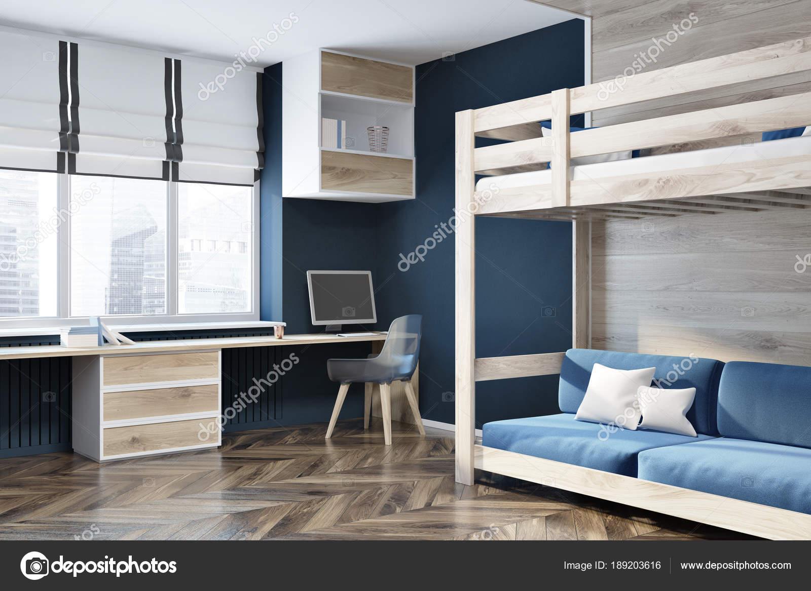 Lit de grenier pour le bureau à domicile bleu mur bleu foncé