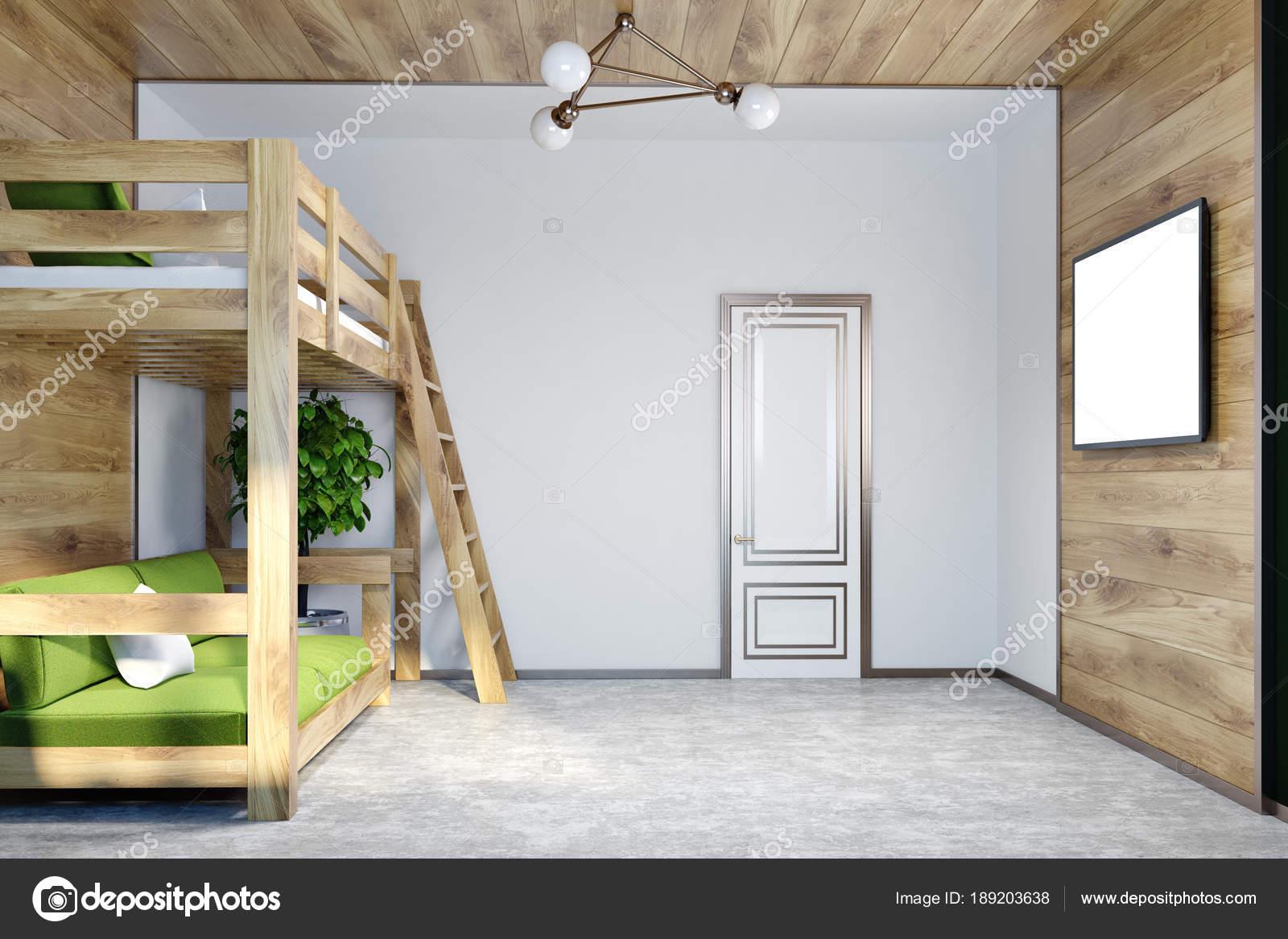 Wit slaapkamer, groene loft bed, Tv-scherm mock up — Stockfoto ...