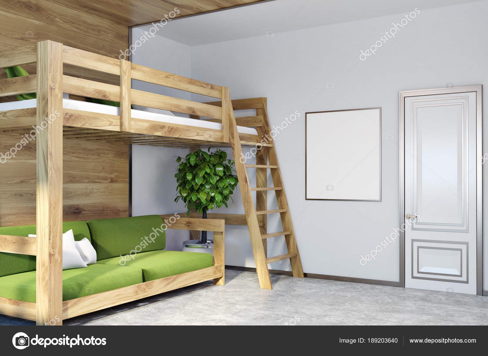 Weiße Wand Schlafzimmer Ecke, Grüne Hochbett, Poster U2014 Stockfoto