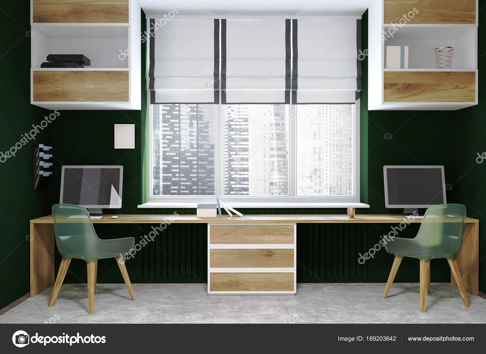 Ufficio Del Lavoro In Nero : Ambiente di lavoro moderno nero e legno schermi u2014 foto stock