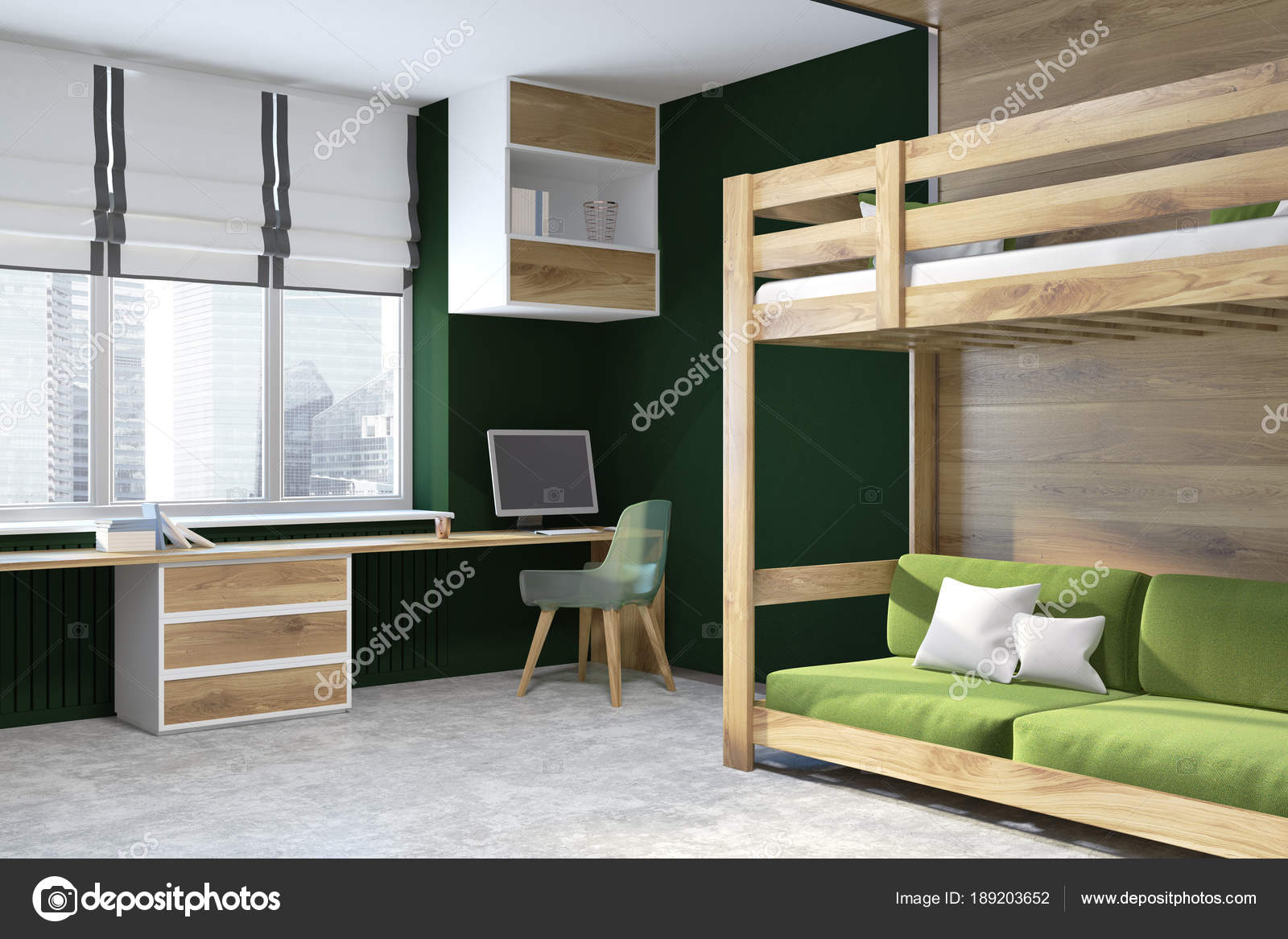 Parete Verde Ufficio : Letto a soppalco casa ufficio verde parete nera u2014 foto stock