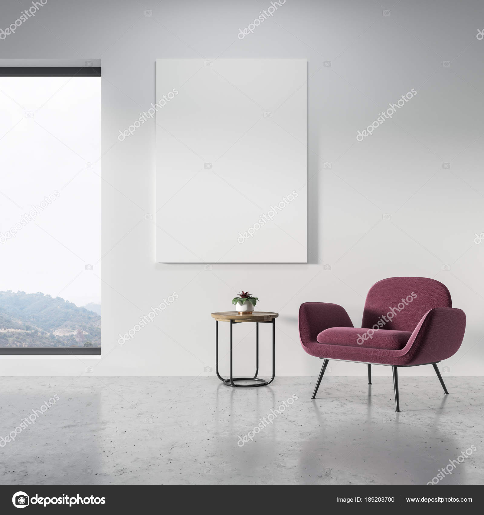 Fauteuil, panoramische woonkamer, roze-poster — Stockfoto ...