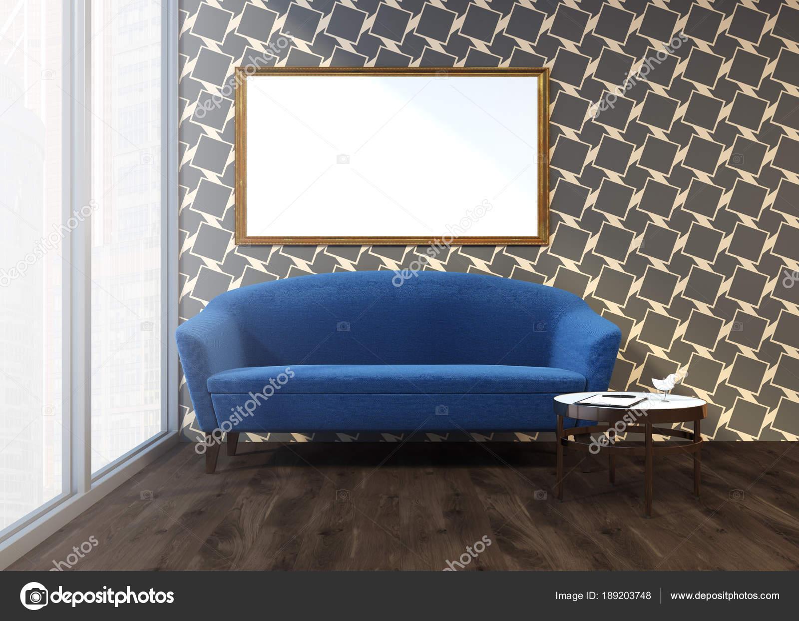 Graue Muster Wohnzimmer, blauen Sofa, gerahmte poster — Stockfoto ...