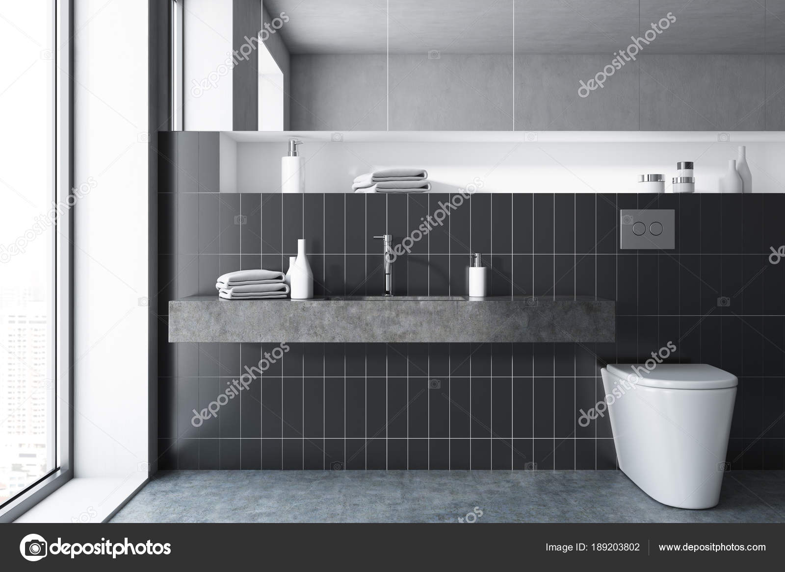Schwarze Fliesen Bad, WC — Stockfoto © denisismagilov #189203802