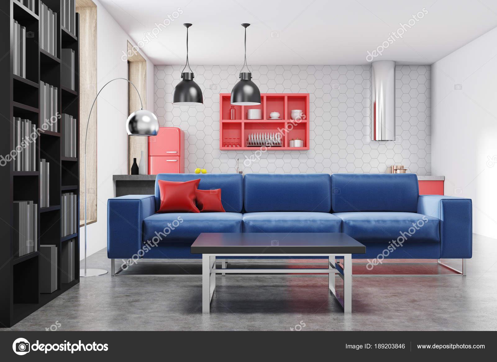 Cocina y sala de estar, sofá azul — Foto de stock © denisismagilov ...