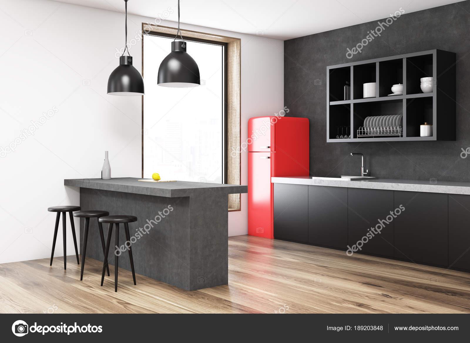 Frigorifero di cucina grigio angolo rosso u2014 foto stock