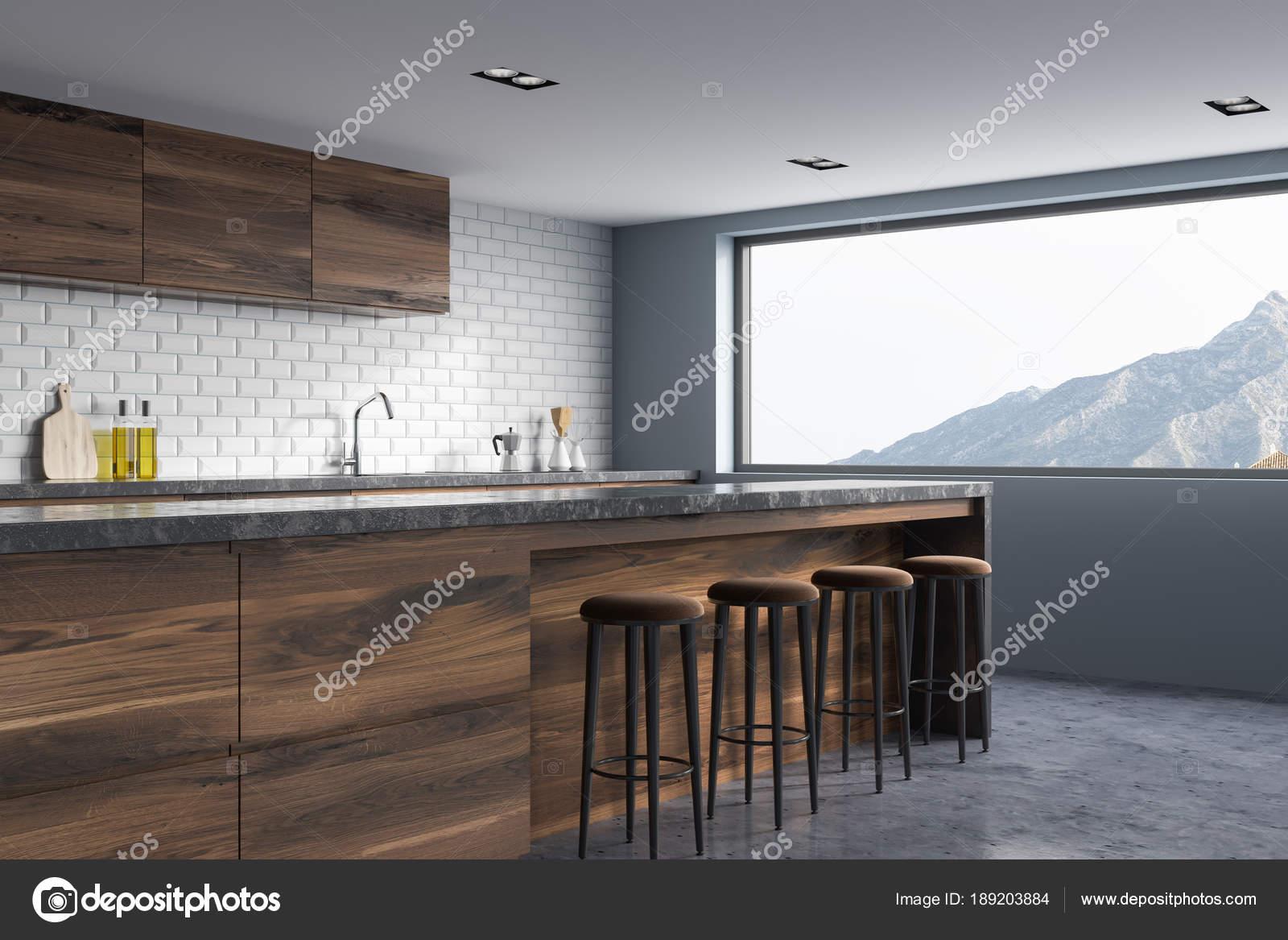 Coin-cuisine brique blanche, en bois de bar — Photographie ...