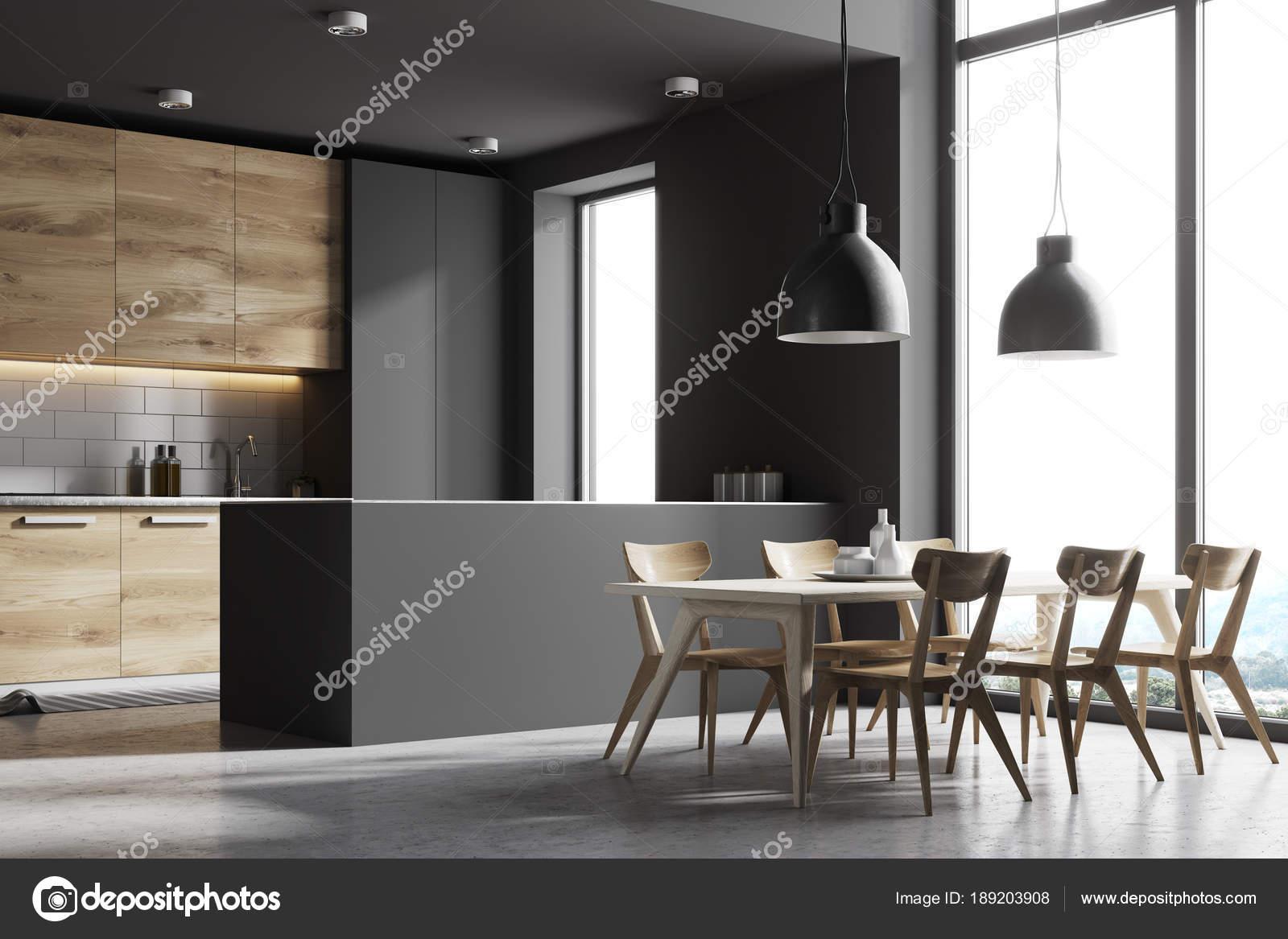 Grau Und Holz Kuche Mit Einem Tisch Seitenansicht Stockfoto