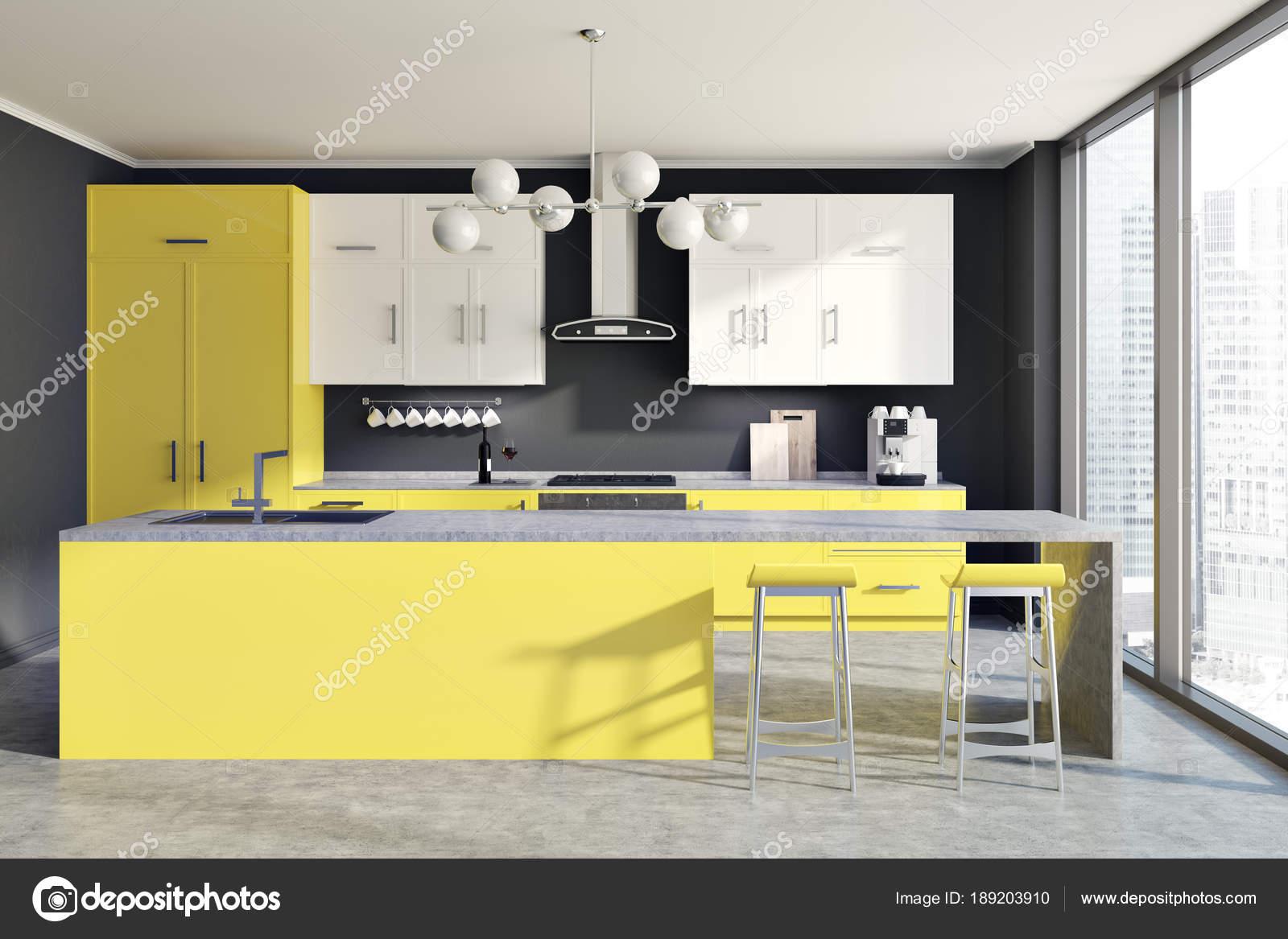 Banconi da cucina, giallo muro grigio — Foto Stock © denisismagilov ...