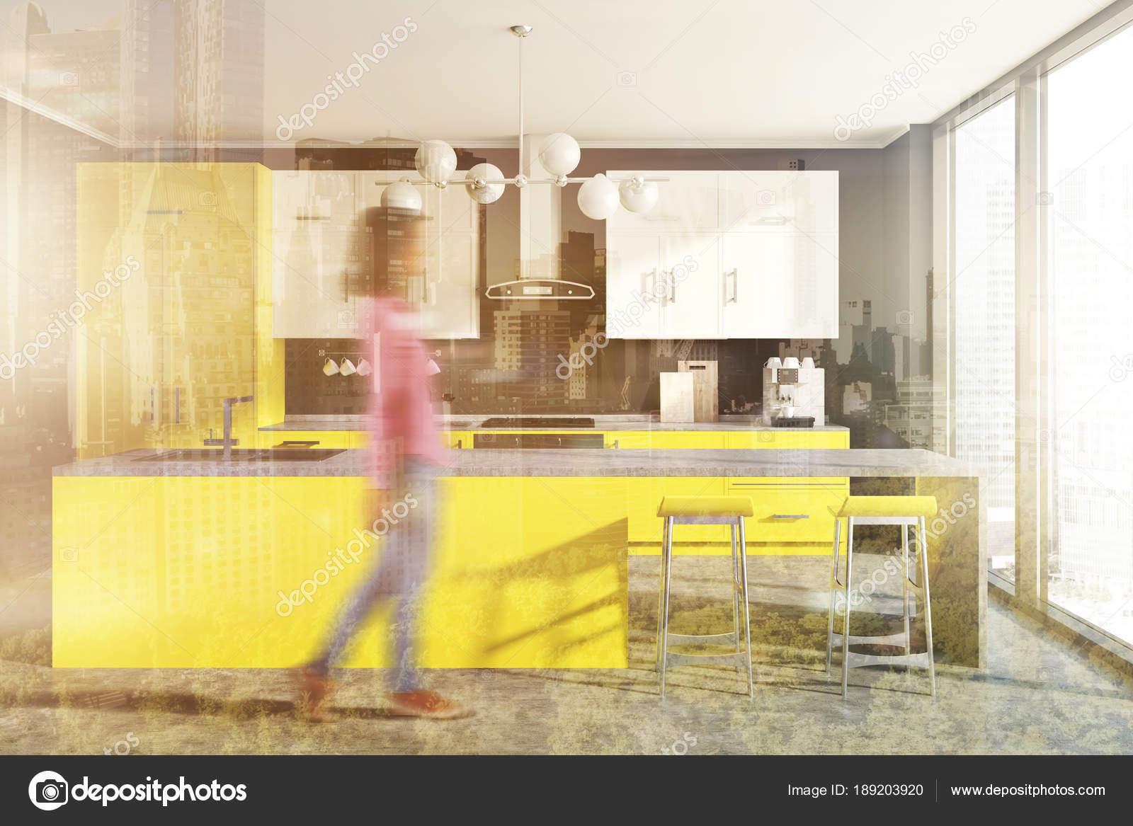 Banconi da cucina, giallo grigio muro tonica — Foto Stock ...