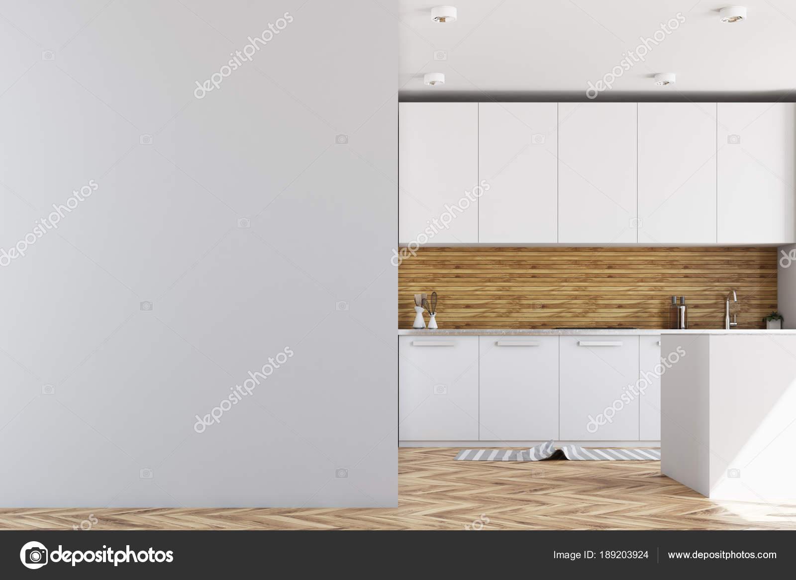 Weiß und Holz Küche, mock-up Wand — Stockfoto © denisismagilov ...