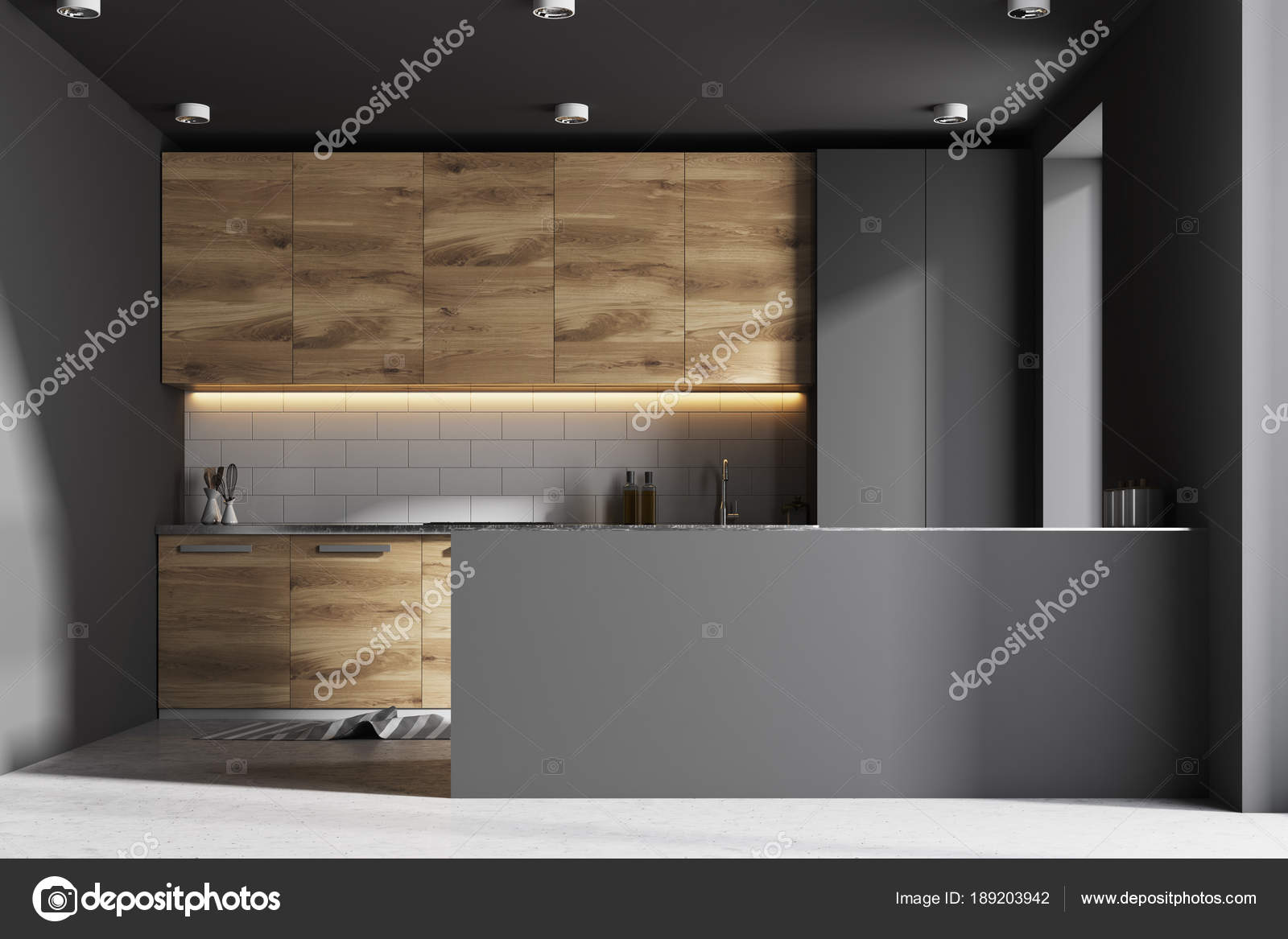 Grijs en houten interieur keukenbar u2014 stockfoto © denisismagilov