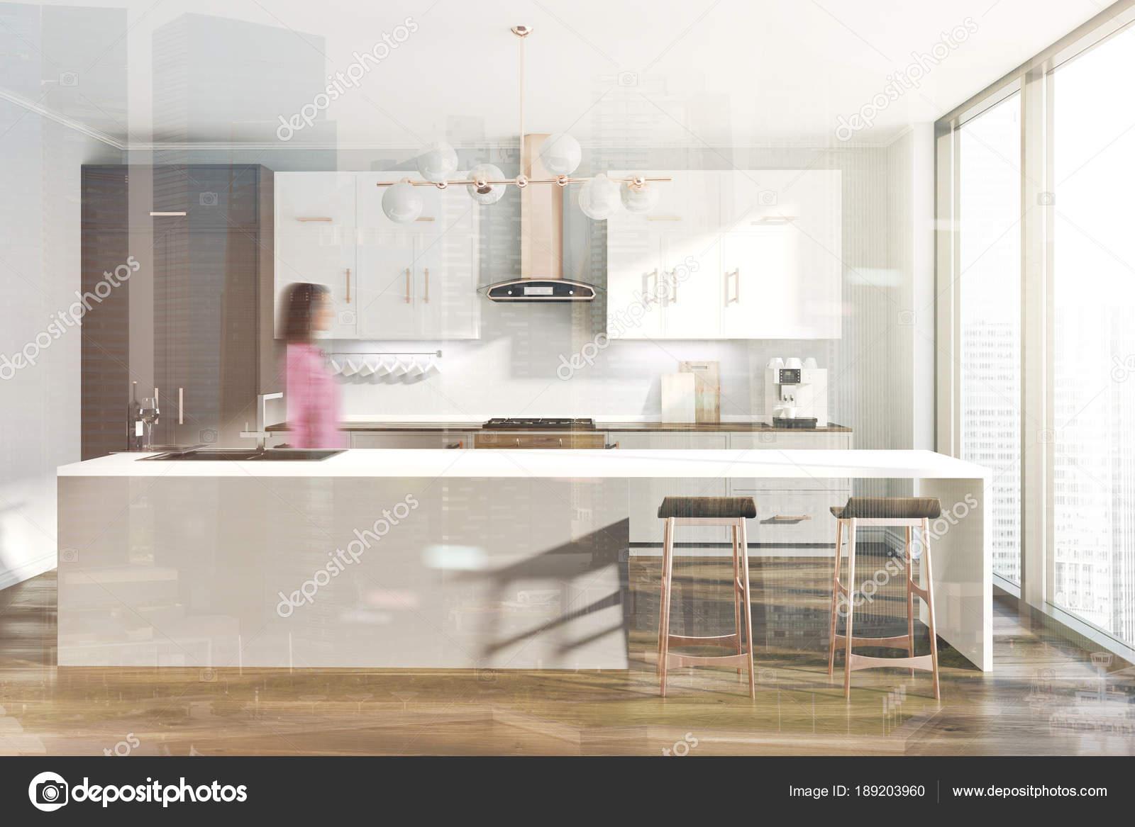 Cocina blanca, gris contador, tabla de tonos — Foto de stock ...