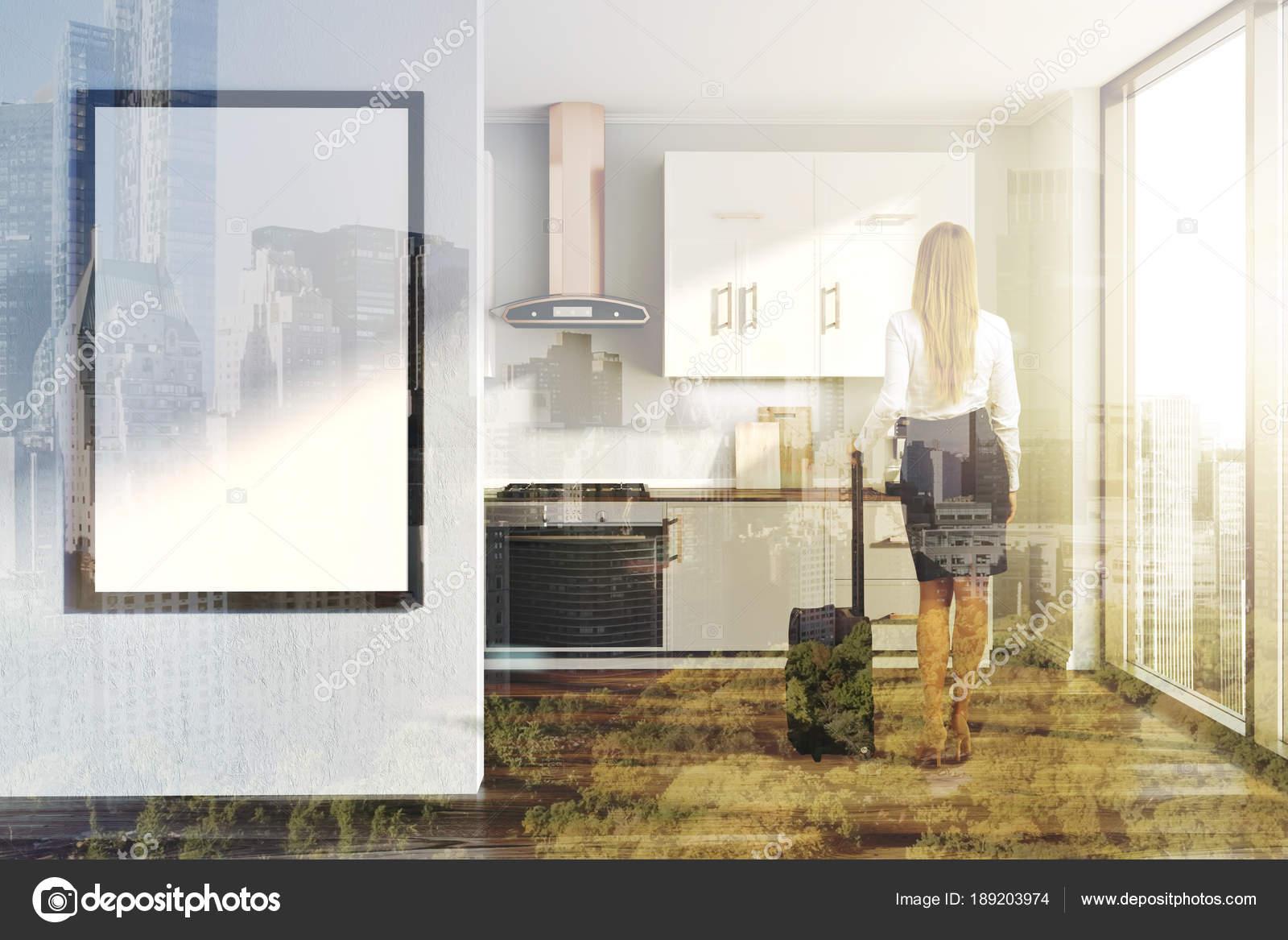 Banconi da cucina bianco, grigio, poster tonica — Foto Stock ...