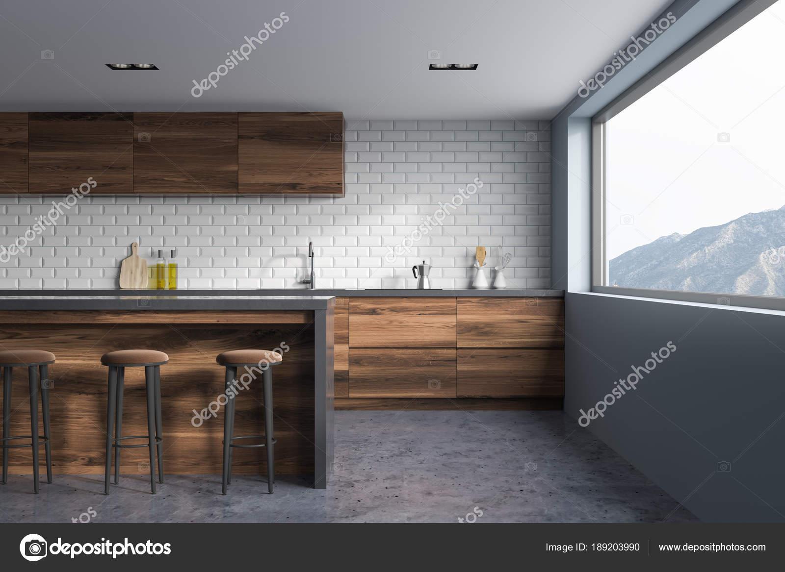 Muri Interni Grigi : Mattoni bianchi e grigi cucina interni in legno bar u2014 foto stock