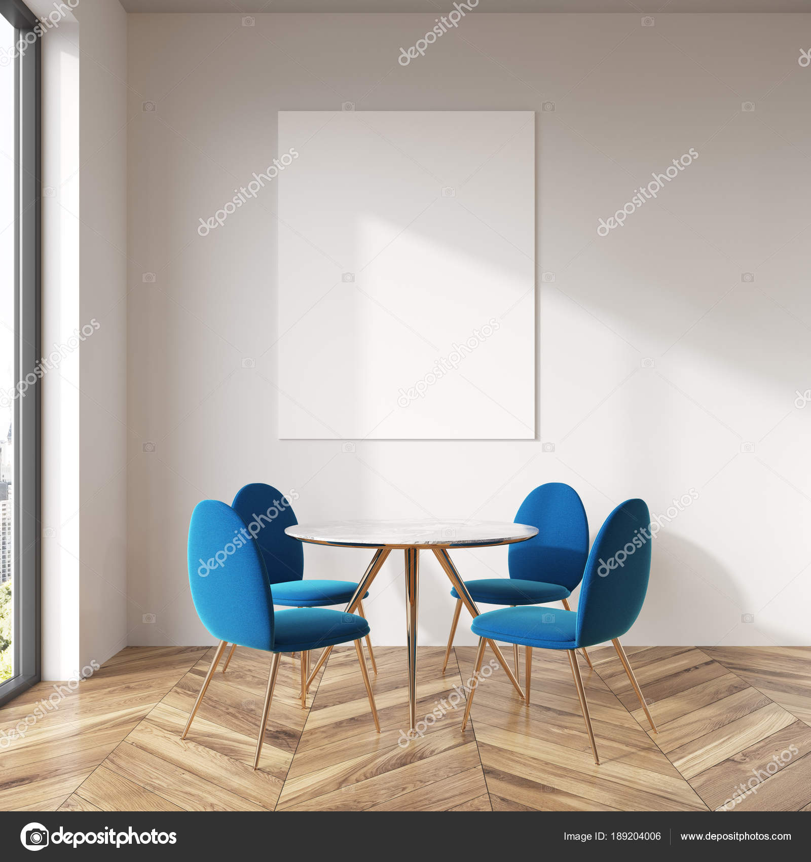 White dining room, blue chairs, poster — Stock Photo ...