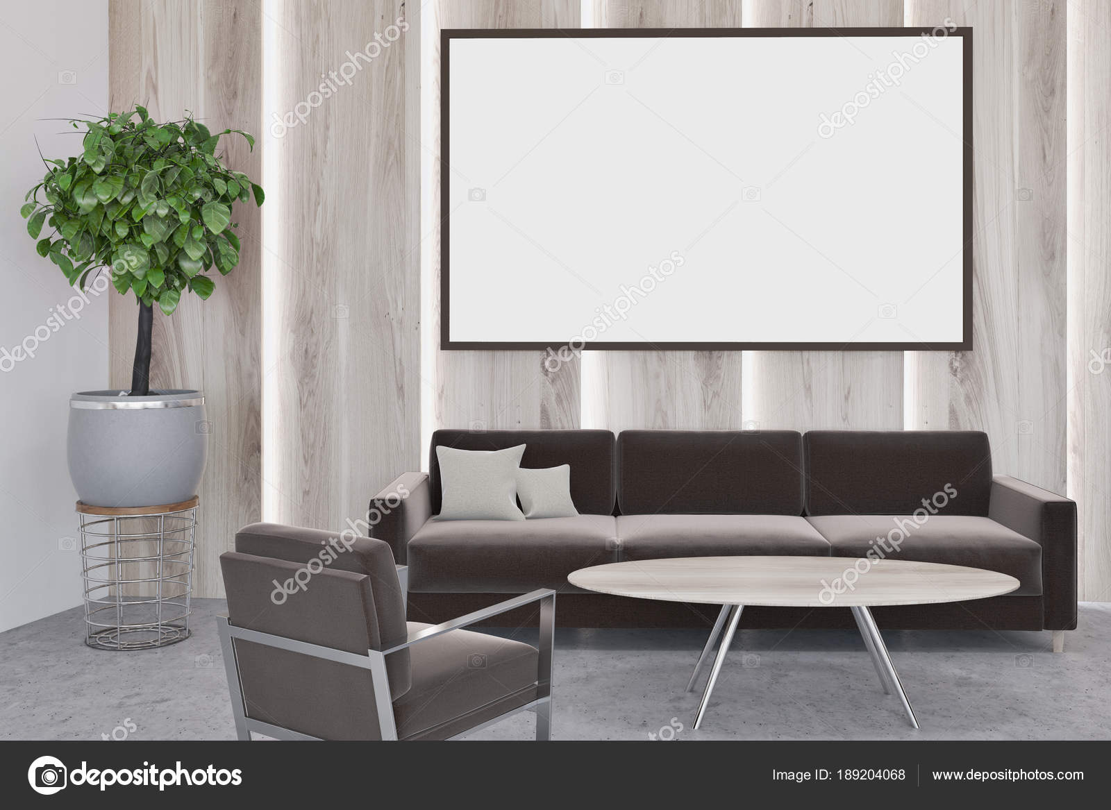 Luxury wooden walls living room, poster — Stock Photo ...