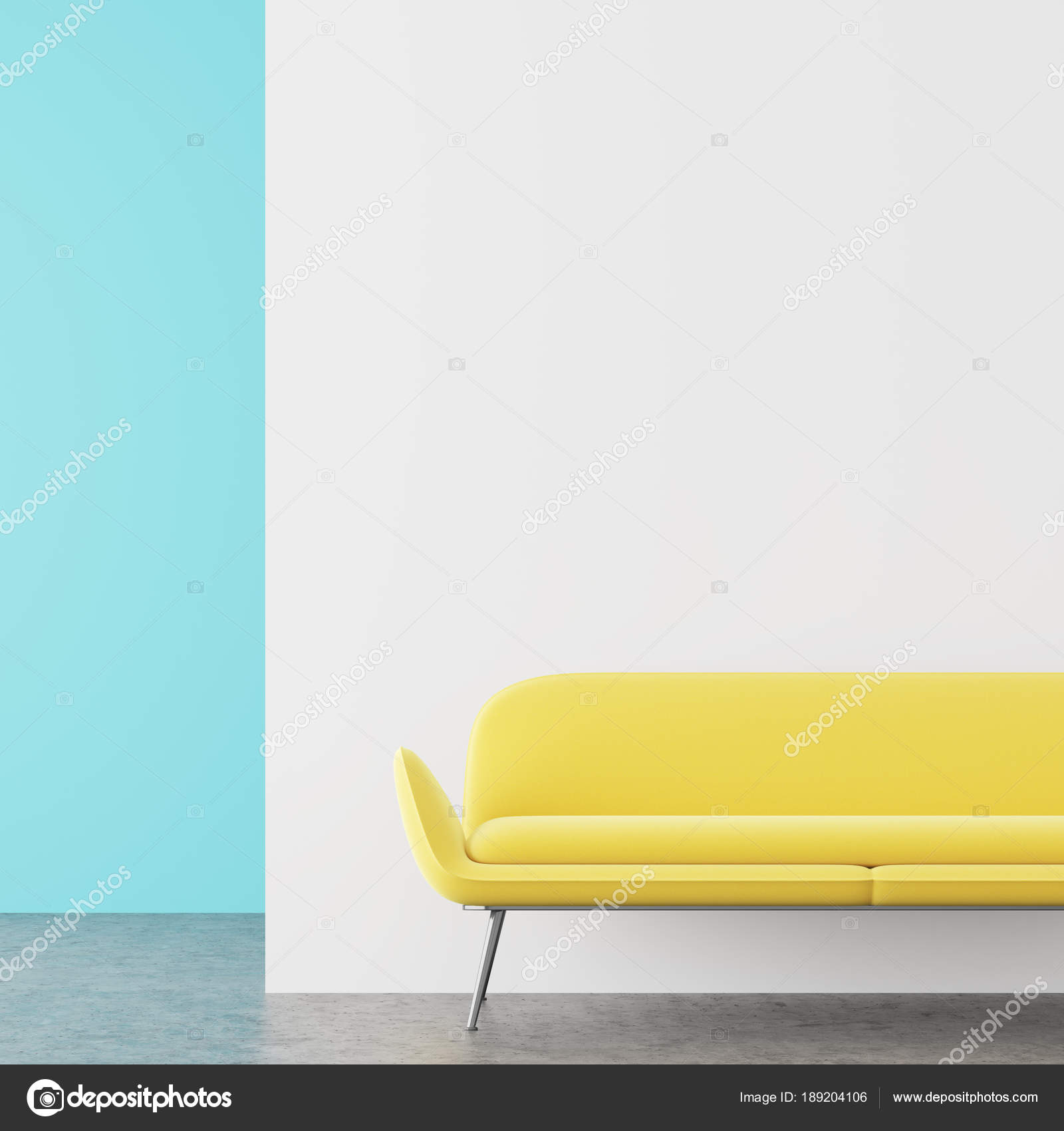 Sofa im weiß-blauen Wohnzimmer, gelb — Stockfoto © denisismagilov ...