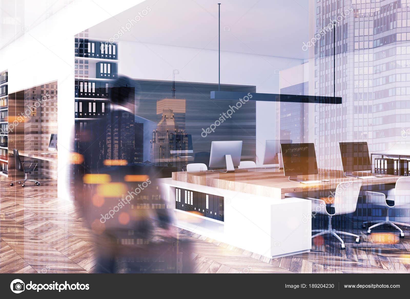 Ufficio Bianco E Legno : Vista lato interno bianco e legno ufficio tonica u foto stock