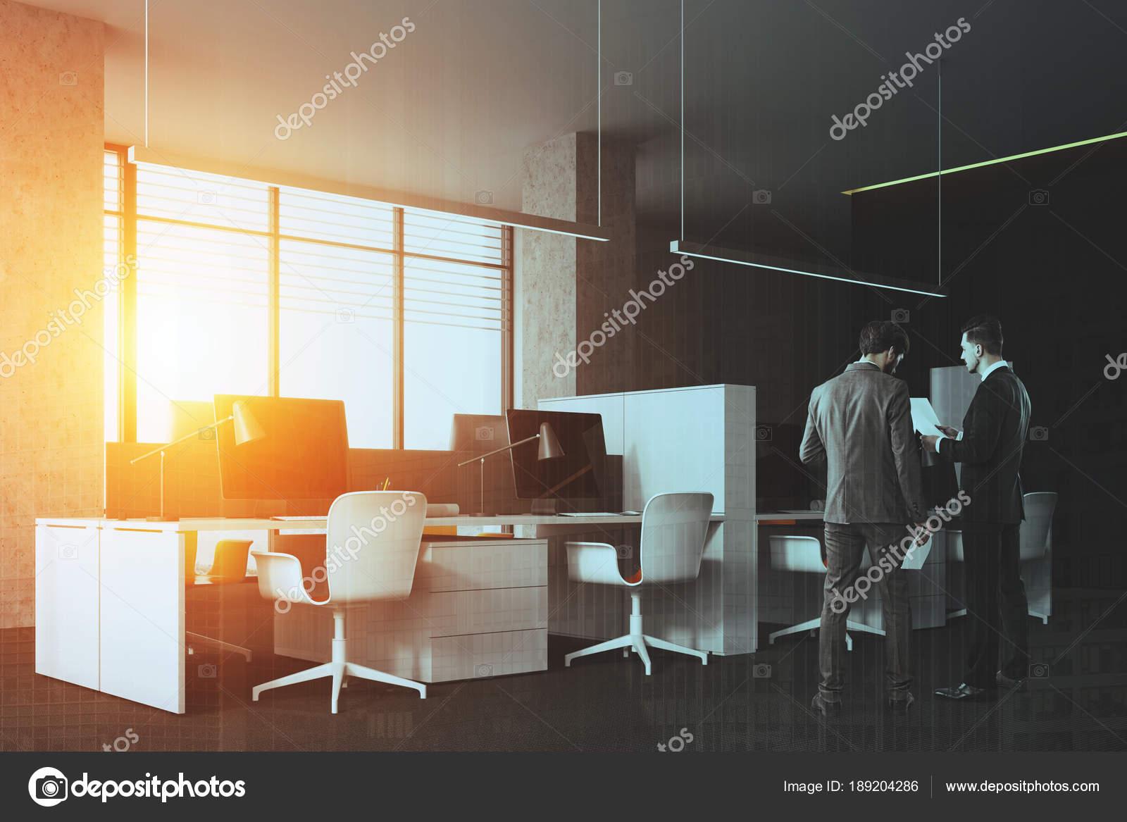 Ufficio Pavimento Grigio : Ufficio open space grigio pareti vista laterale tonica u foto