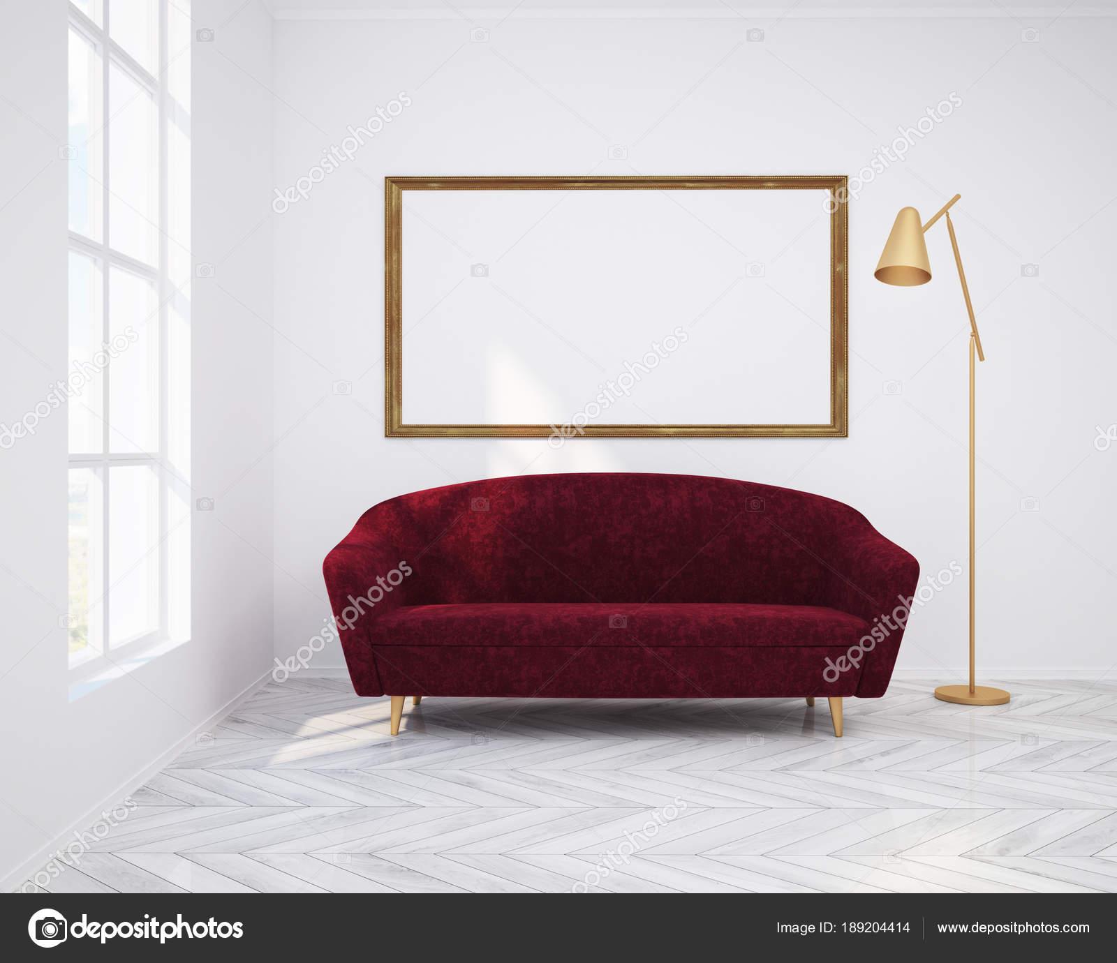 Cartel, sofá y salón blanco interior — Foto de stock ...