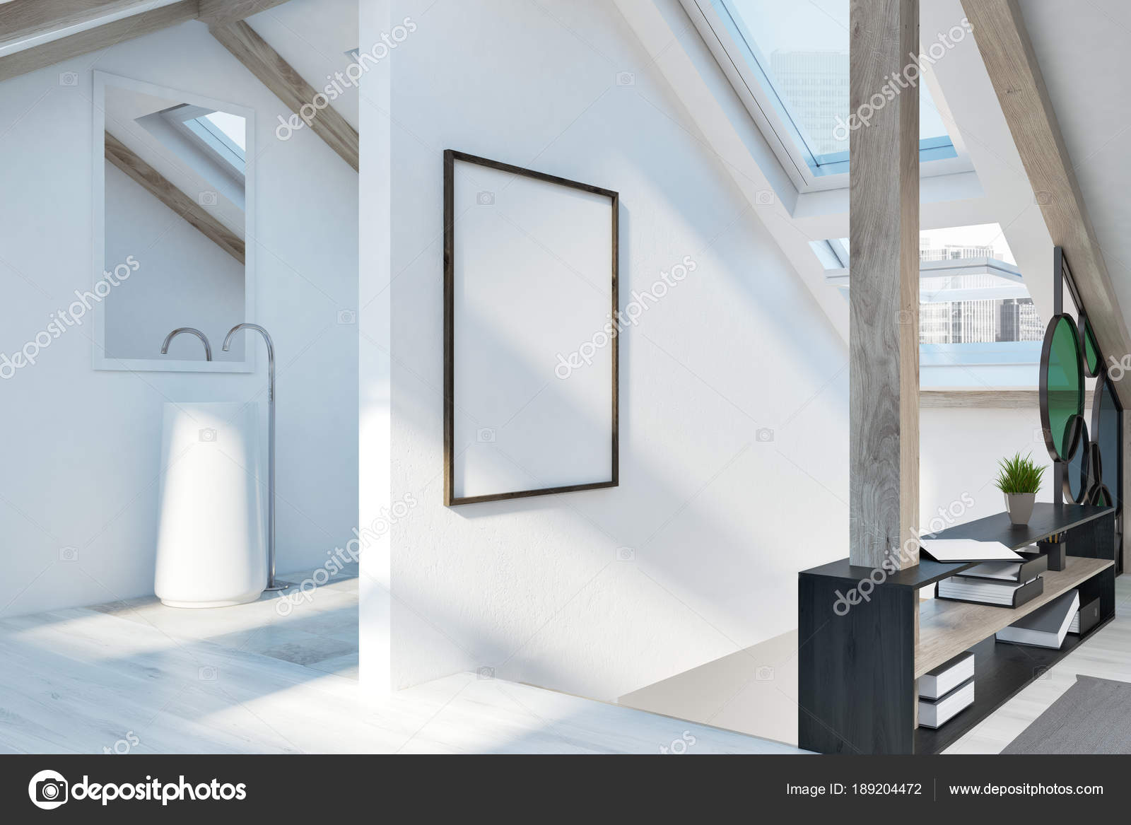 Dachgeschoss Schlafzimmer und Badezimmer Interieur, Plakat ...