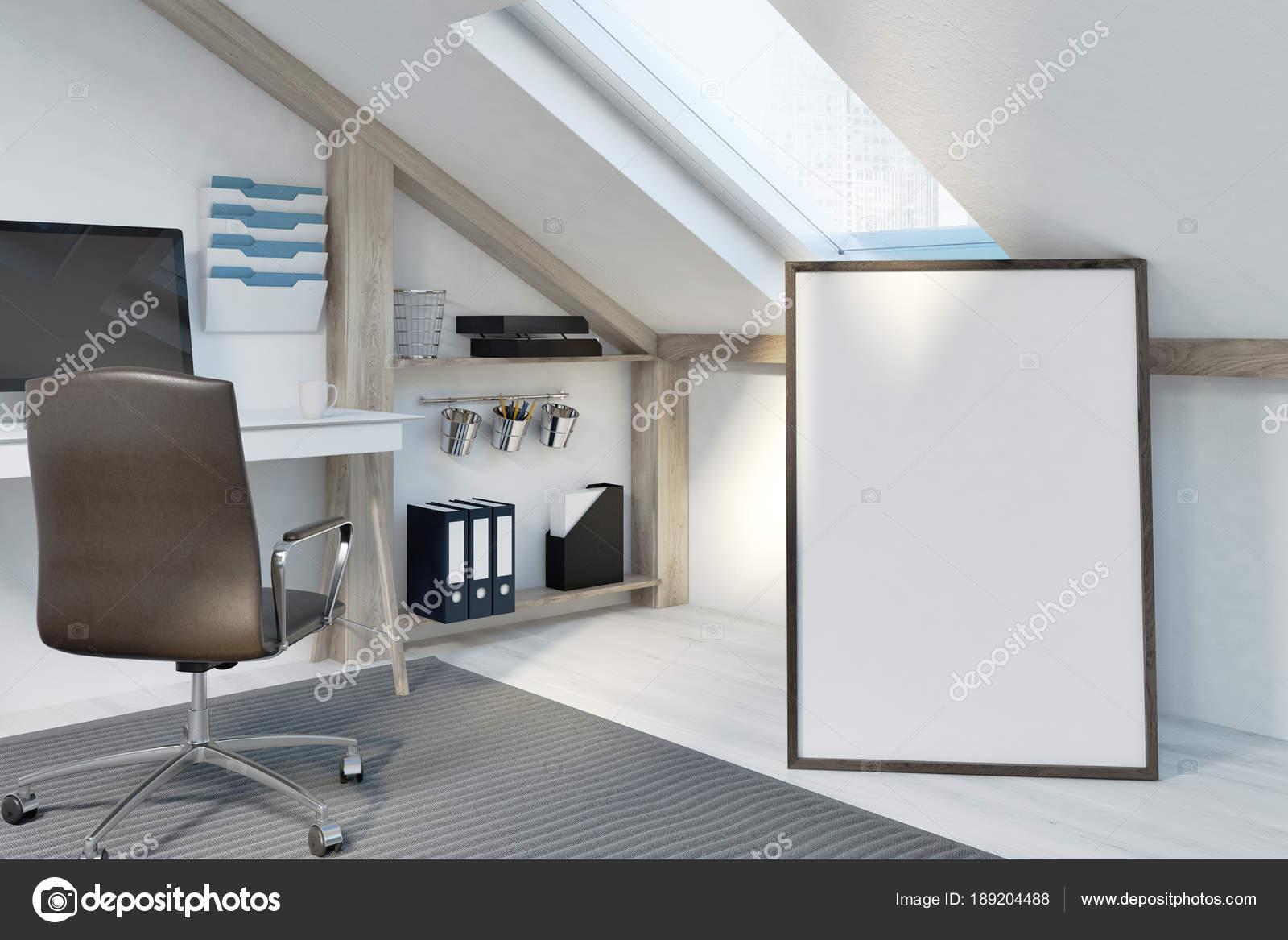 Poster in an attic home office — Stock Photo © denisismagilov #189204488