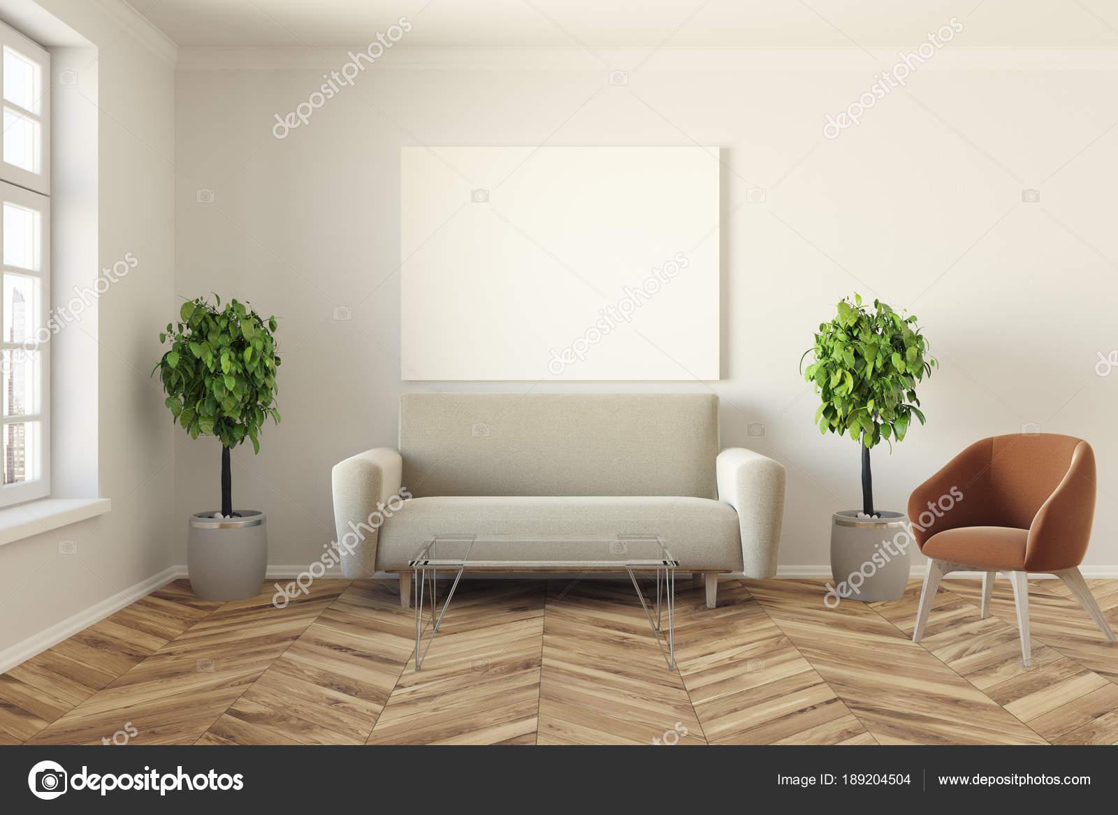Moderne Wohnzimmer, Sofa Und Poster U2014 Stockfoto
